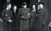 On leave. From the left, Arnošt Polák, wireless operator, with his girlfriend, Jan Irving and at far right, engineer G. Shaw, navigator, the only Englishman in Irving's crew, shown here with his future wife Patt