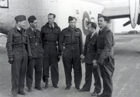 Jan Irving's crew at the Beaulieu base in 1943. From the left: G. Shaw, A. Polák, Václav Spitz, Jan Irving, Jaroslav Hájek and far right, laughing Zdeněk Sedlák who suffered a sad end - he took the flight from England on the 5th October of 1945, the plane crashed and all persons on board were killed, including Zdeněk Sedlák and his wife Edita (WAAF)