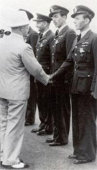 President Edvard Beneš congratulates Jan Irving after he was, along with others, awarded the Czechoslovak War Cross 1939