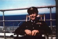 Jan on board of the RMS Queen Elizabeth