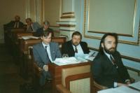 První volební období v parlamentu, počátek 90. let (Oldřich Váca uprostřed, vedle něj Richard Hájek, vepředu Vladimír Líbal)