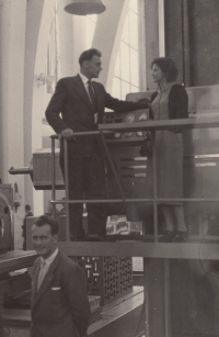 At the International Engineering Exhibition in Brno with his future wife Marie (1950s)