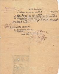 Letter from the Czechoslovak Legions' recruitment comission