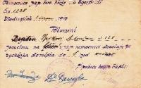 Antonín Špika's permit to leave the army buildings in Vladivostok.