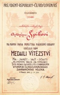 Ministerial decree awarding the First World War Inter-allied Victory medal to Antonín Špika