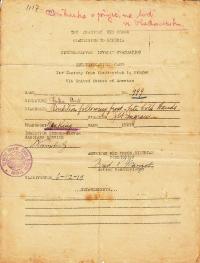 Antonín Špika's identification card for the boat journey from Vladivostok