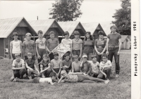 As an assistant at a Pionýr summer camp, 1981