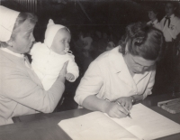 With her mother, at the civil ceremony of welcoming new citizens, 1963