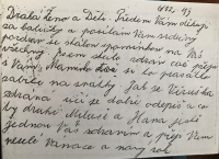 Letter from the father of Mrs. Holmanová in 1943