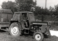 Josef Davídek as a tractor driver in agricultural cooperative (1980s)