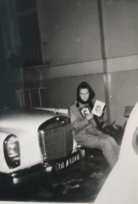 Sister Hana in John Lennon's car, London, 1968