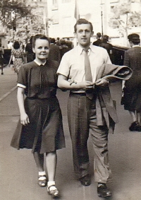 With his girlgriend and future wife during studies in Prague in 1946