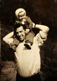 Karel Hrubý with his fifteen-months old son. The next day he was arrested.