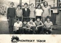 Jan Slezák (bottom left) at a pioneer camp, circa 1973