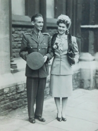 The wedding photograph of Miroslav Kopecký and his British wife Sheila