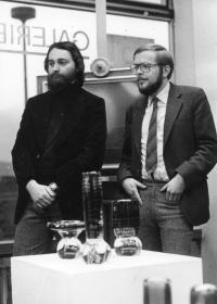 Vladimír Czumalo opens surrealist Jiří Dlask´s exhibition in Ústí nad Labem, November 1982
