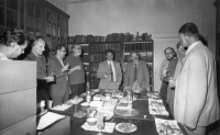 Celebration of the 60th birthday of Vladimír Fiala, the head of the Department of Art History and Aesthetics at the Faculty of Arts of Charles University in summer 1982 in the library of the department. On the photo from the left (with the then titles): Dr. Jaromír Homolka, dr. Petr Wittlich, dr. Dušan Prokop, dr. Miloš Jůzl, prof. Jaroslav Volek, doc. Jan Cigánek, dr. Vladimír Czumalo, prof. Jiří Hájek, doc. Vladimír Fiala.