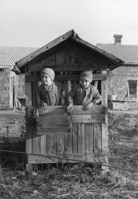 With cousin Josef in Litohlavy in a shed that remained there after a student experiment with calf breeding in front of unfinished cow house of United Agriculture Cooperative, 2nd half of the 1950s