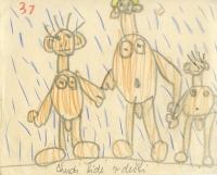Children's drawing from Vladimír Czumalo´s collection marked by one of his parents