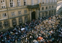 Refugees from GDR in front of the West Germany Embassy in Prague, 1989