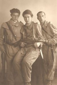 Witness (quite right) as a member of Sokol revolutionary guard in Liberec in May1945