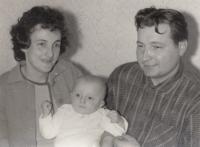 Miroslav Blažek (5-months-old) with his parents, Nová Paka, January 1967