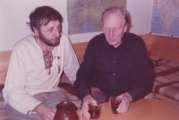 Writer Jan Vodňanský with Sergej Machonin on Machonin's 70th birthday party, 1988
