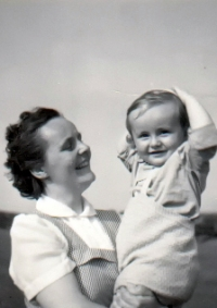 The wife of Karel Hruby with the son. The son grew up without his father until he was six