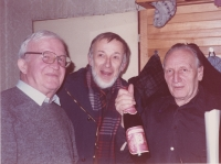 From the left: writer Zdeněk Urbánek, art historian Jiří Šetlík and Sergej Machonin. Taken at Sergej Machonin's 70th birthday party, 1988