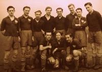 Karel Hruby (far left) while playing football for Viktorka Plzen