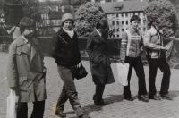 On their way to meet Brother Roger in Prague, from the left Felix Davídek Jr. and Světluše Košíčková; 1981