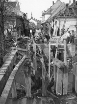 Wooden bridge at the riverbank in Litovel on 8 May, 1945