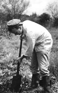 During soil sample extraction, Mokré louky (1978)