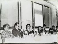 Meeting of ROH in a cottage under Vtacnik. From the left, headmaster Vojtkova, deputy directior Valach, Jana Herkova Gabriela Hajnovičová, Lila Dvořáčková, Jarmila Krátka.