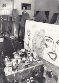 Daniel Balabán in his studio in the Prokop the Great street in Ostrava-Vítkovice, 1986