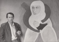 Daniel Balabán in front of his painting Agnes of Bohemia, 1993
