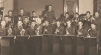 Auxiliary Technical Battalions Band, witness in the middle with violin in Postoloprty in 1952
