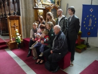 Extended family of Jan Květ during the christening of his granddaughter Lia Gráfová in a church in Třeboň (2010)