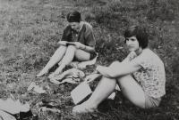 Taizé summer camp in Holeje which she had ogranised with Marie Kaplanová, Světluše Košíčková (on the right) and Terezie de Meyier from Taizé