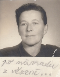 The mother of the witness, Marie Lišková, after returning from prison