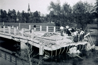 Bridge over moat at mill in Litovel on 8. 5. 1945