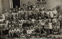 The kindergarten in Choceň, 1957, (Naděžda is on top, the second one from the right)