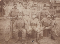 Vlastimil Úlehla's father Josef in the army (Austria-Hungary); bottom row, in the middle