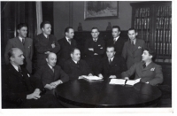 Editorial staff of Brázda magazine before World War II. The fourth from the left Dr. Jan Škramovský, the second from the left Dr.František Kutnar, the second from the right Dr. Drbal