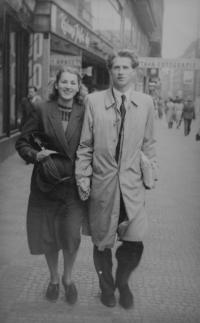 Her parents Luděk a Miloslava Skálovi at the All Sokol Rally held in 1948