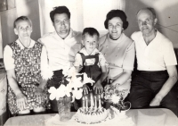 With parents and grandparents from his mother's side, 1971