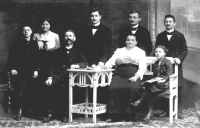 The Staněk family, standing: children František, Růžena, Karel, Ladislav and Alois; sitting: grandfather Jan Staněk, grandmother Anna Staňková, mum Anna