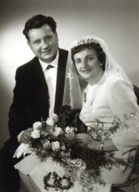 Miroslav Blažek's parents, wedding, Lomnice nad Popelkou, 25. 9. 1965