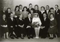 Miroslav Blažek's parents with family, wedding, Lomnice nad Popelkou, 25. 9. 1965