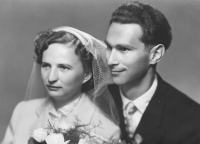 Wedding photo of Lubomír and Marie Šiks in 1957